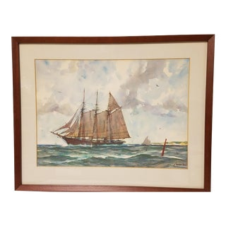 Gordon Hope Grant Original Maritime Watercolor Painting, War Ship