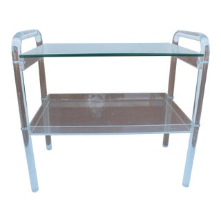 Vintage Two Tier Lucite Bar Cart or Side Table