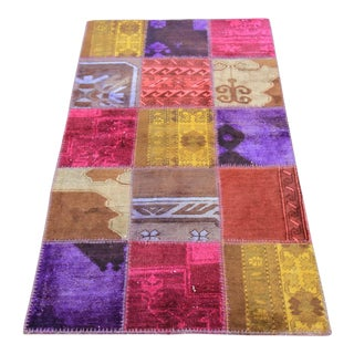 Vintage Turkish Overdyed Oushak Patchwork Rug- 3′ × 5′