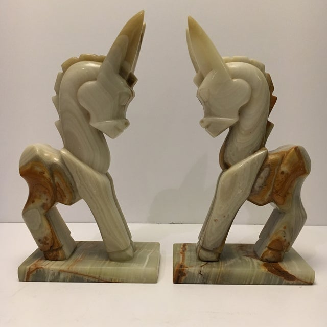 Image of Vintage Marble Donkey Bookends - A Pair