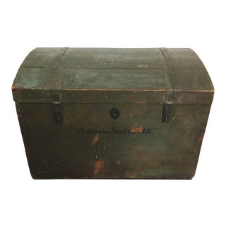 Antique Czech Immigration Wood Trunk Chest