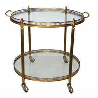 Vintage French Maison Bagues Oval Bar Cart