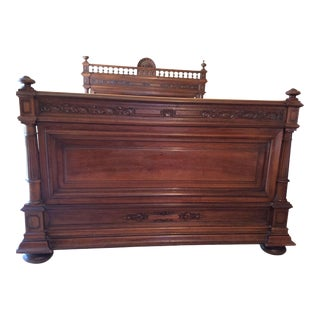 Henry II Style French Walnut Bed