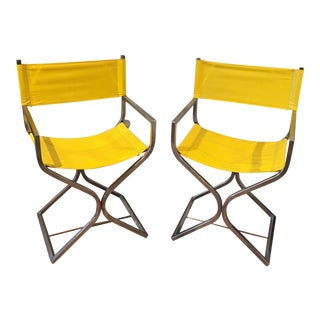 Virtue Yellow & Chrome Directors Chairs - A Pair