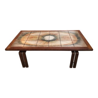 Danish Modern Art Tiles & Wood Coffee Table