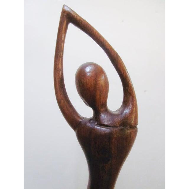Vintage Modernist Carved Wood Woman Sculpture - Image 5 of 8