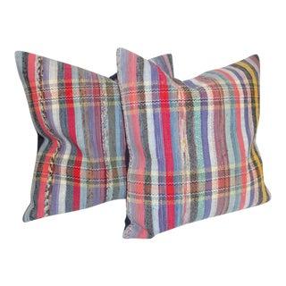 Fantastic Pair of Vintage Striped Pastel Rag Rug Pillows