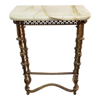 Antique Onyx & Brass Console Table
