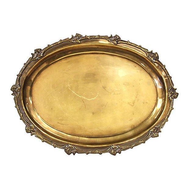 Image of Brass Tray with Floral Rim