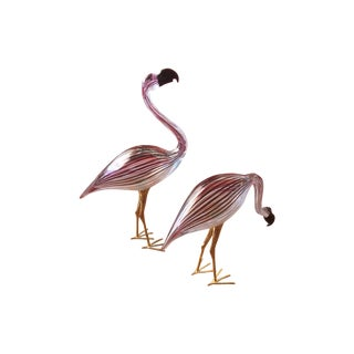 Ducale Murano Art Glass Flamingos Signed - Pair