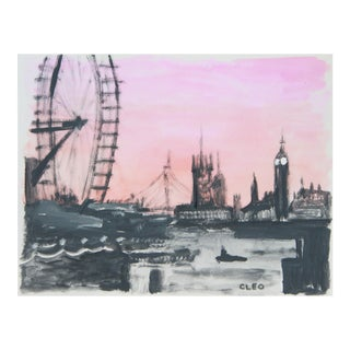 London Cityscape Abstract Painting by Cleo