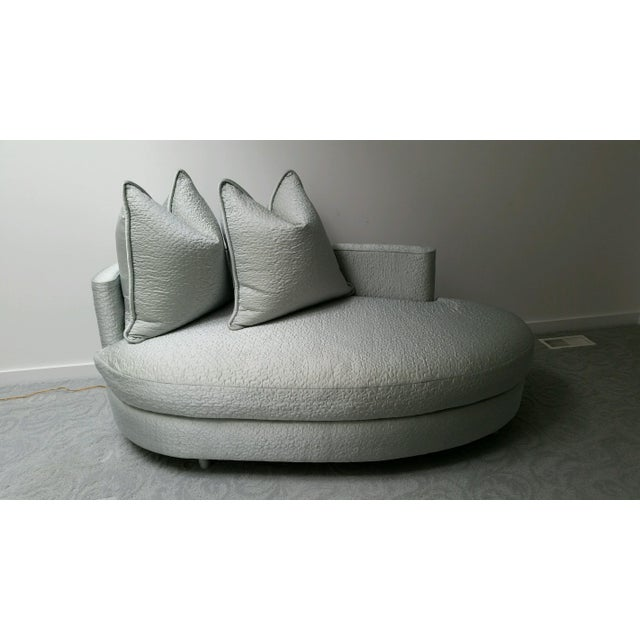 Image of Ice Blue Silk Taffeta Oval Chaise