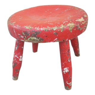 Primitive Red Painted Stool