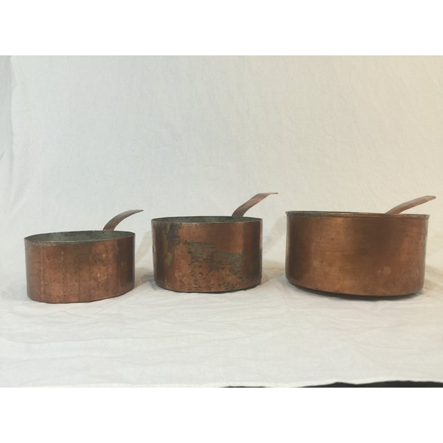 Antique Copper Pots with Dovetailing - Set of 3 - Image 6 of 10