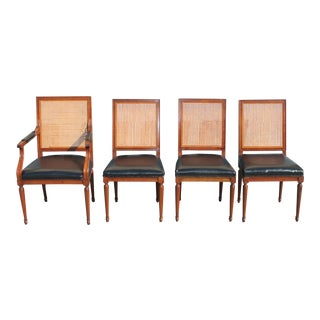 Mid-Century Baker Caned Dining Chairs - Set of 4