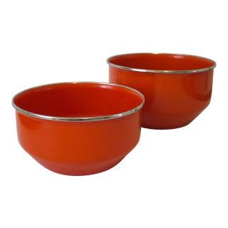 Pair of Vintage Red Enamelware Bowls