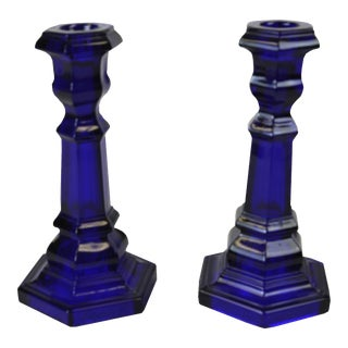 Vintage Cobalt Blue Glass Candle Holders - A Pair