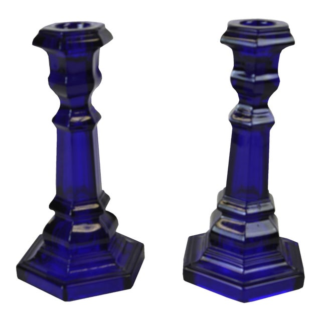 Vintage Cobalt Blue Glass Candle Holders - A Pair - Image 1 of 3