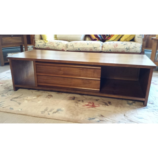 Lane Sliding Door Coffee Table: Lane Mid-Century Modern Walnut Coffee Table