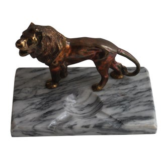 Marble Desk Ashtray With Lion