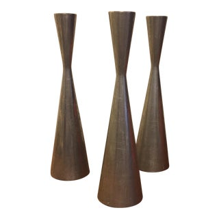 Danish Modern Style Metal Candle Stick Holders - Set of 3