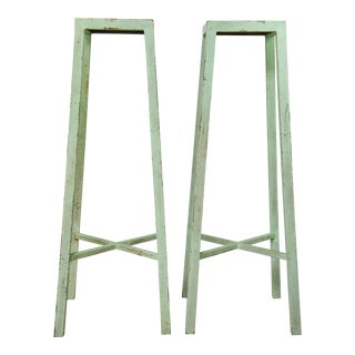 Industrial Turquoise Distressed Steel Stands - A Pair