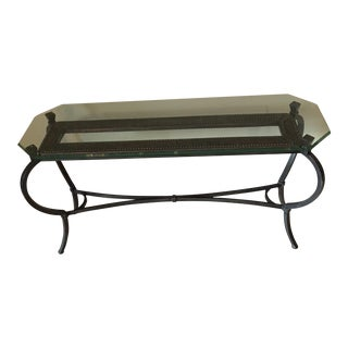 Vintage Hobnail Metal Bronze Frame Console Table
