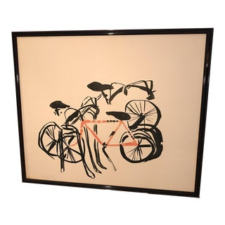 Mid-Century Modern Abstract Bicycle Art Lithograph