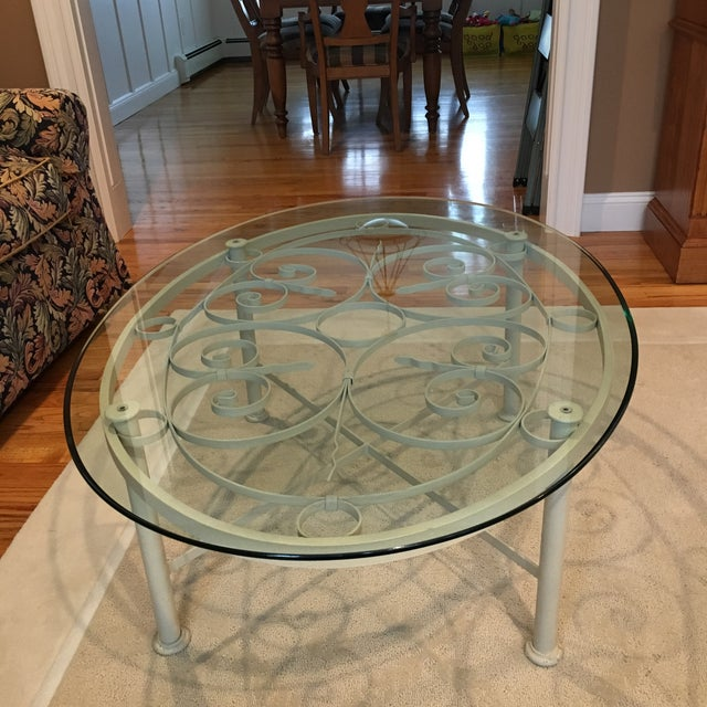 Ethan Allen Oval Iron & Glass Cocktail Table - Image 2 of 3