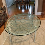 Image of Ethan Allen Oval Iron & Glass Cocktail Table