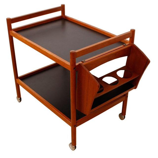 Danish Teak Bar Cart With Removable Wine Caddy - Image 7 of 10