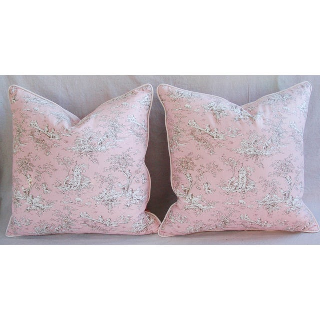 Designer French Pink Toile & Velvet Feather/Down Pillows - Pair - Image 9 of 11