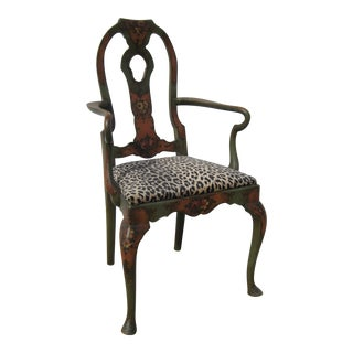 Vintage Walnut Tole-Painted Captain's Chair