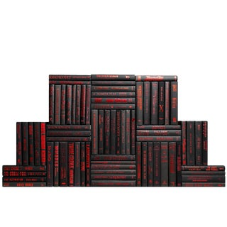 Modern Black & Red Accent Book Wall - Set of 75
