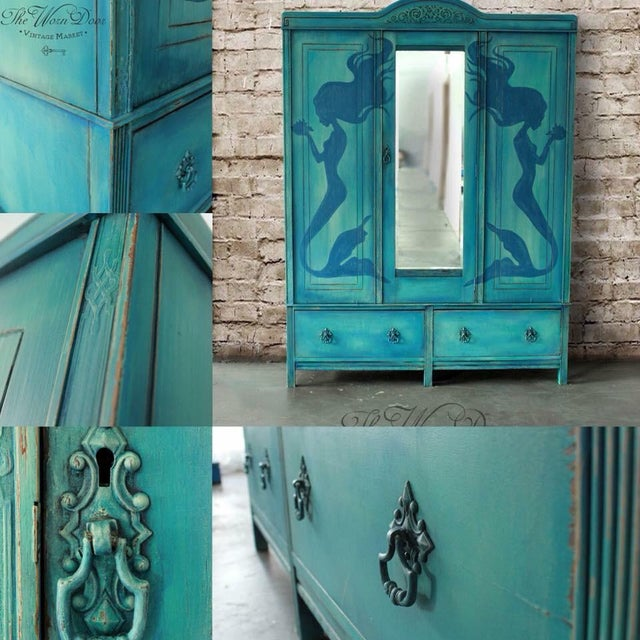 1920's Hand Painted Mermaid Armoire - Image 2 of 5