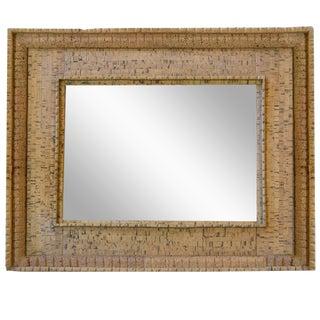 Italian Mid-Century Cork Frame with Mirror