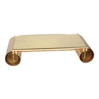 Bronze Gold Leaf Coffee Table with Scroll Ends, French 1970s