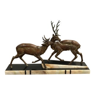 Monumental French Art Deco Bronze Sculpture of Two Cervus And Marble Base Circa 1940s