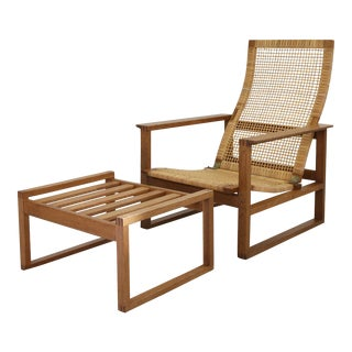 Pair of Oak & Cane Lounge Chairs by Børge Mogensen for Fredericia Stolefabrik