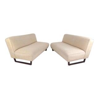 Vintage Modern Sled Leg Slipper Sofas - A Pair