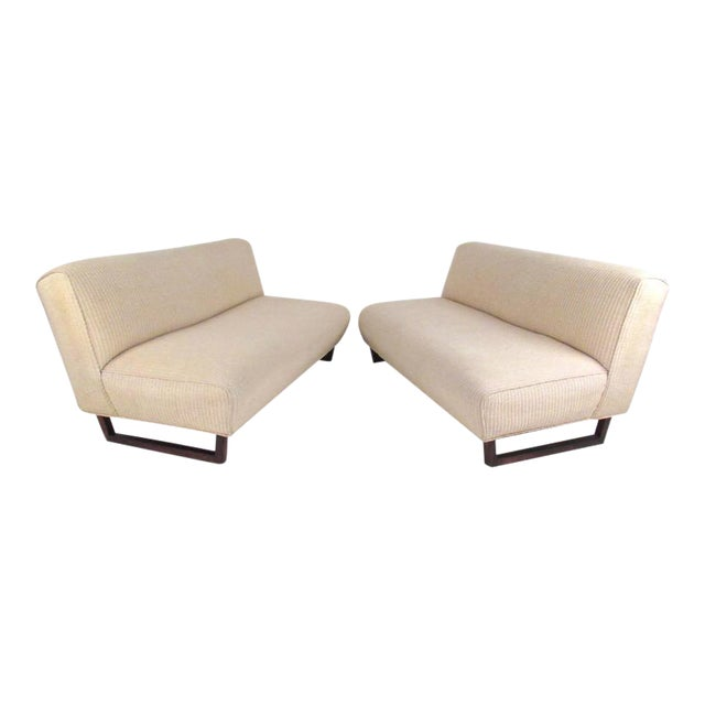 Vintage Modern Sled Leg Slipper Sofas - A Pair - Image 1 of 10