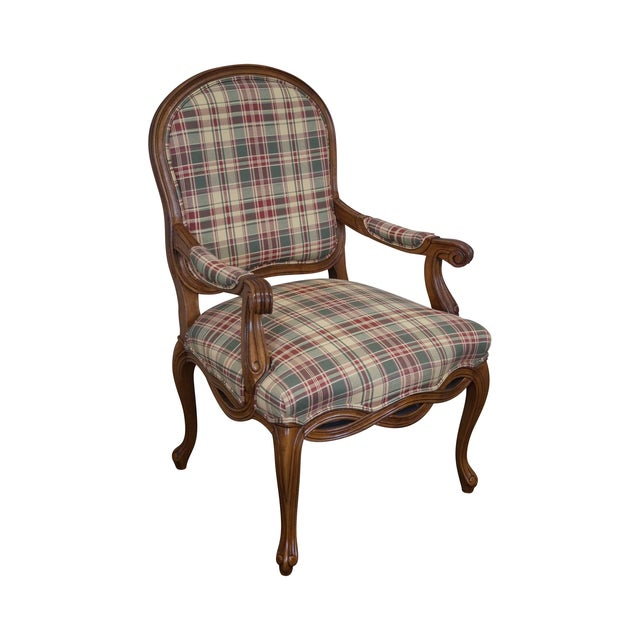 Fairfield French Style Plaid Upholstered Arm Chair | Chairish