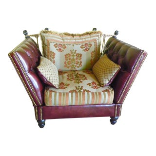 Tufted Burgundy Leather Club Chair