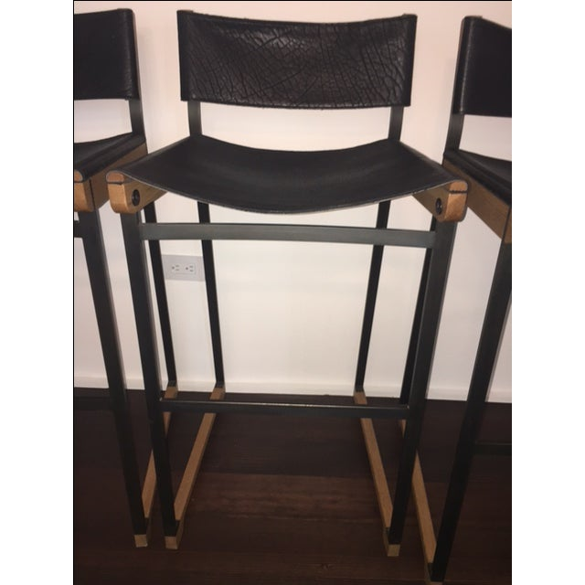 Token Black Leather Bar Stools - Set of 5 - Image 7 of 10