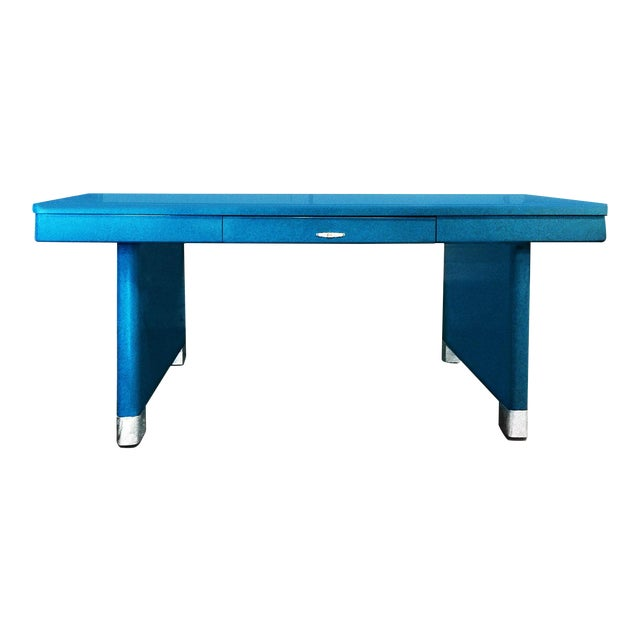 Image of Yawman and Erbe Blue Panel Leg Table