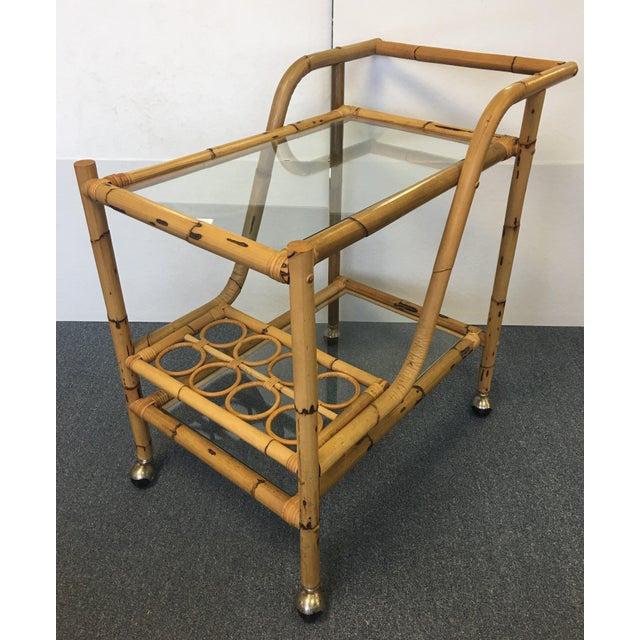 Vintage Bamboo & Rattan Bar Cart - Image 3 of 6