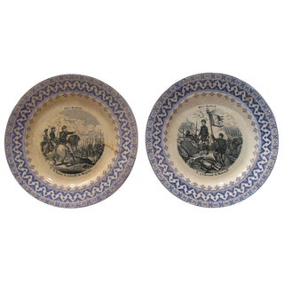 Antique French Transferware Military Plates - A Pair