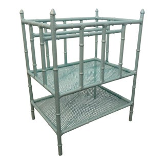 Teal Painted Metal Faux Bamboo Magazine Rack