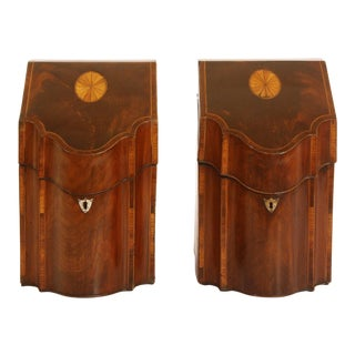Pair of George III Knife Boxes Decorated with Ebony and Boxwood