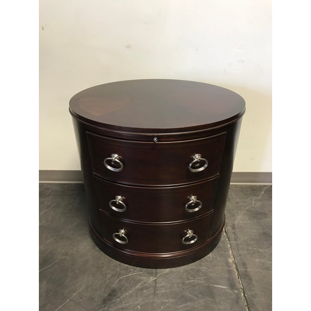 Contemporary Oval Mahogany 3-Drawer Bachelor Chest - Image 9 of 11